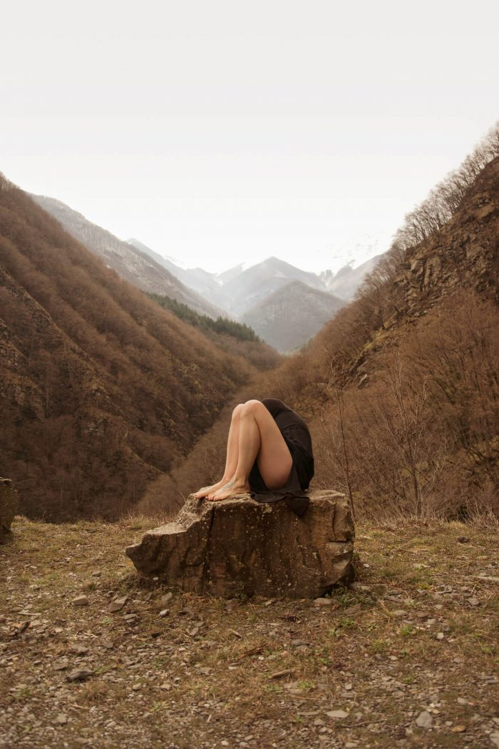 Self portrait with my mountains by Giorgia Bellotti